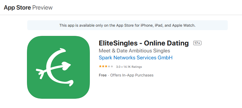 Elitesingles app rating by app store