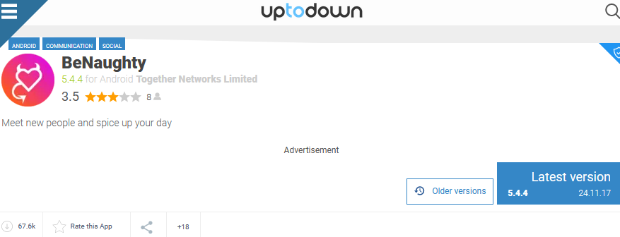 benaughty app rating by uptodown