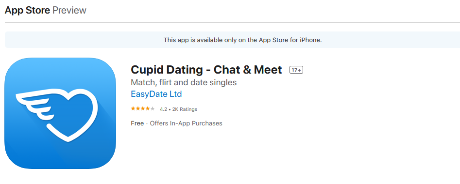 Cupid app rating by app store