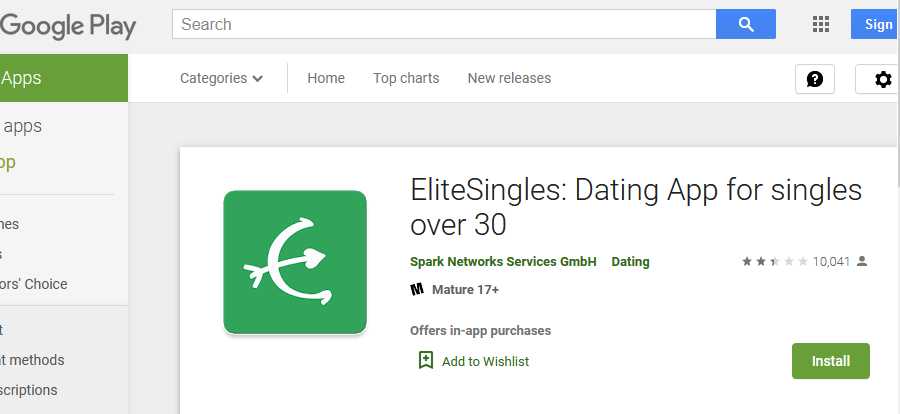 elitesingles app rating by google play