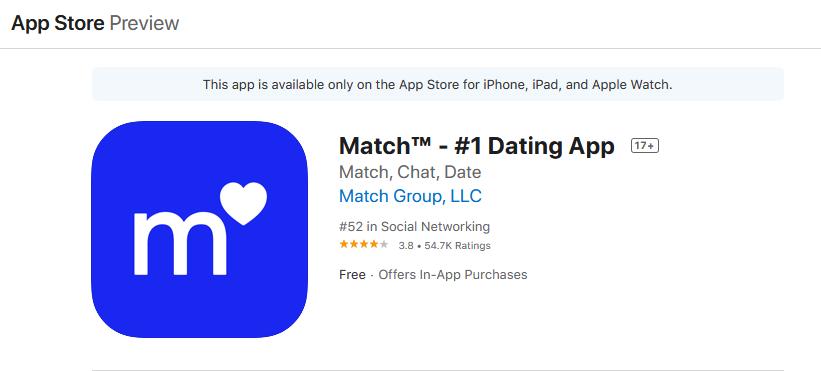 match.com app rating by app store