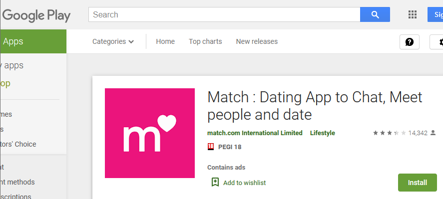 Match.com rating by play google