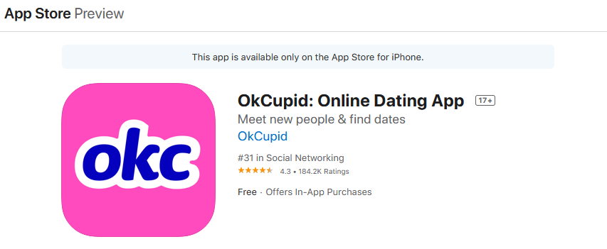 Okcupid app rating by app store