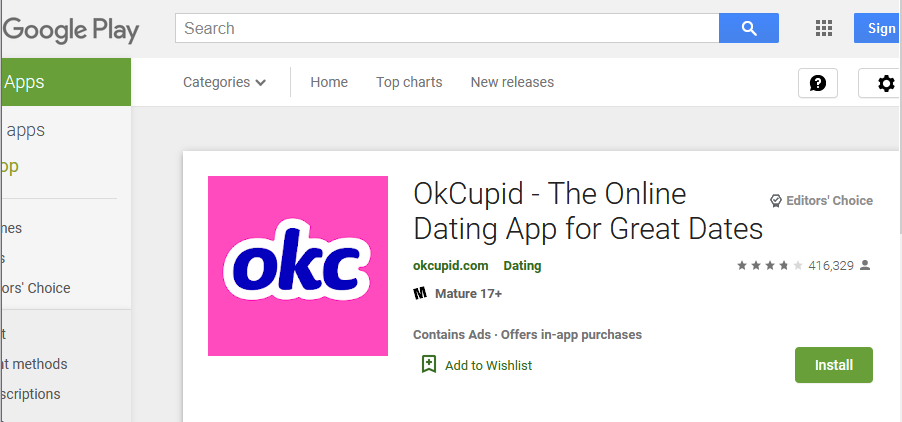 Okcupid app rating by google play