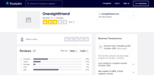 onenightfriend rating by trustpilot